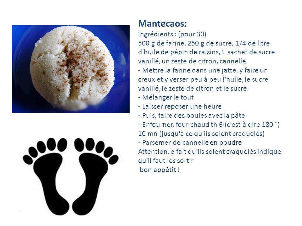 Mantecaos: ingrédients : (pour 30)