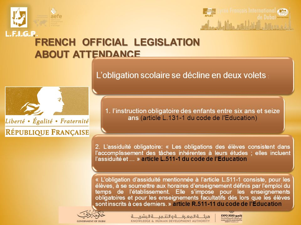 FRENCH OFFICIAL LEGISLATION ABOUT ATTENDANCE