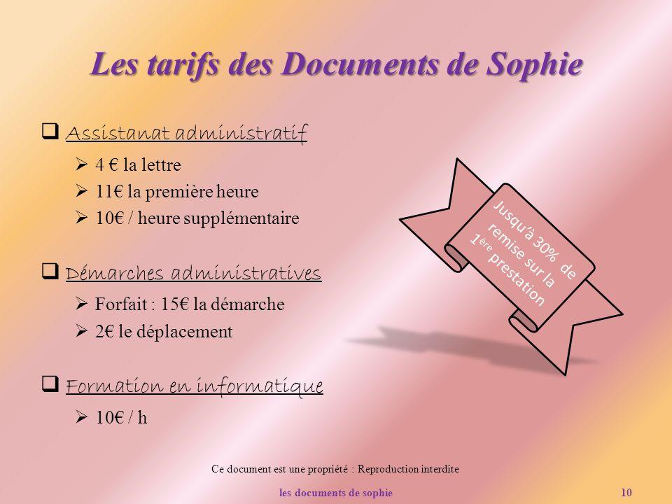 Les tarifs des Documents de Sophie