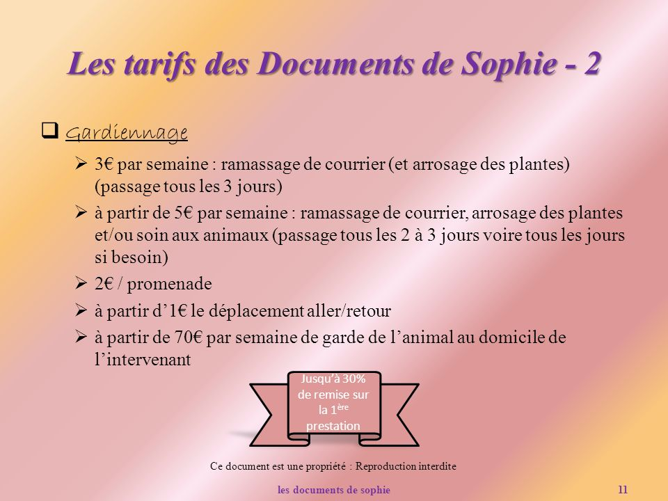 Les tarifs des Documents de Sophie - 2