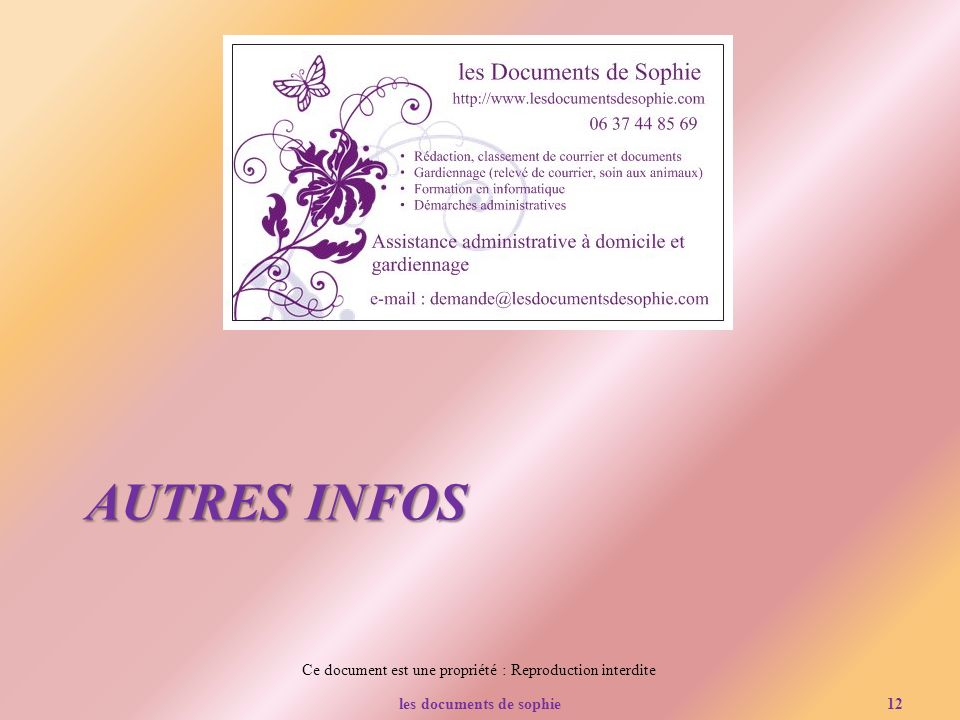 les documents de sophie