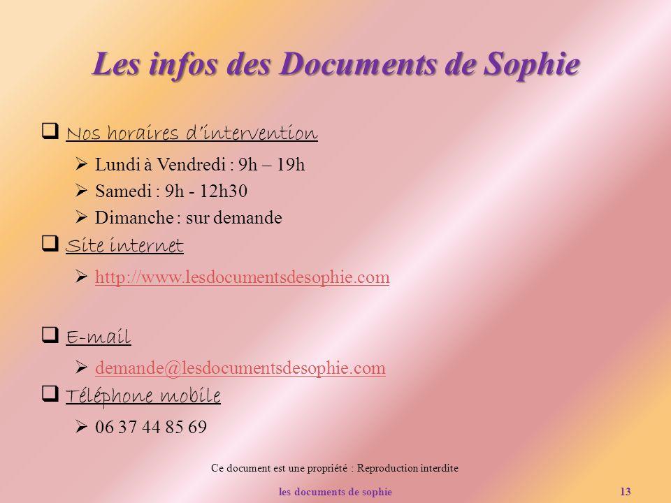 Les infos des Documents de Sophie