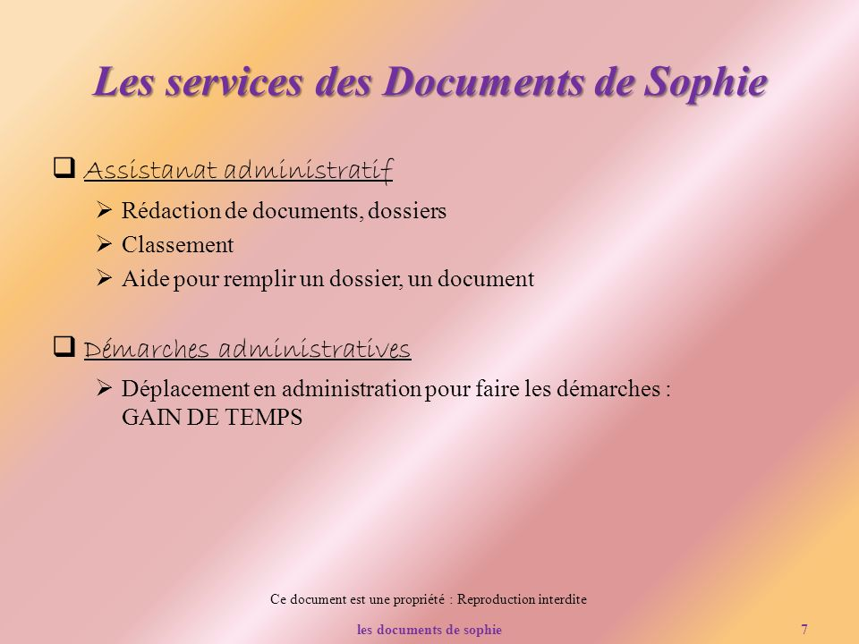 Les services des Documents de Sophie