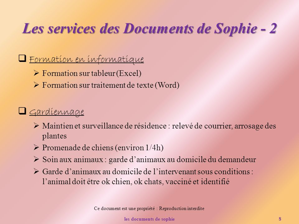 Les services des Documents de Sophie - 2