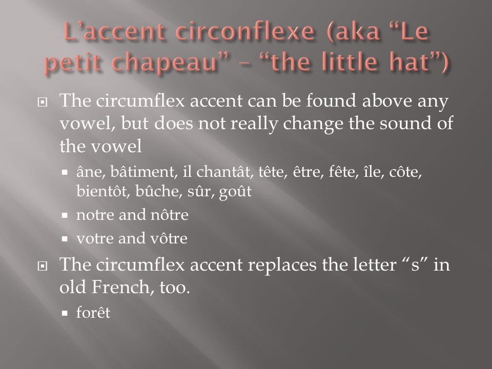 L'accent circonflexe (aka Le petit chapeau – the little hat )