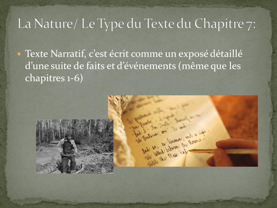 La Nature/ Le Type du Texte du Chapitre 7:
