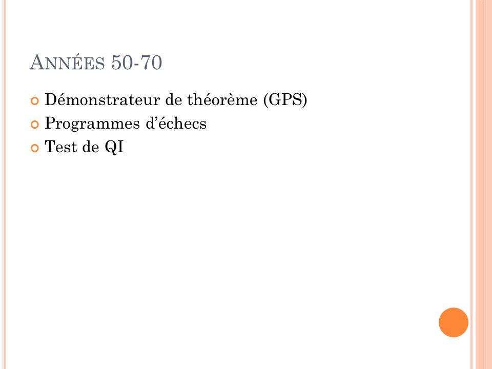 Années 50-70 Démonstrateur de théorème (GPS) Programmes d'échecs