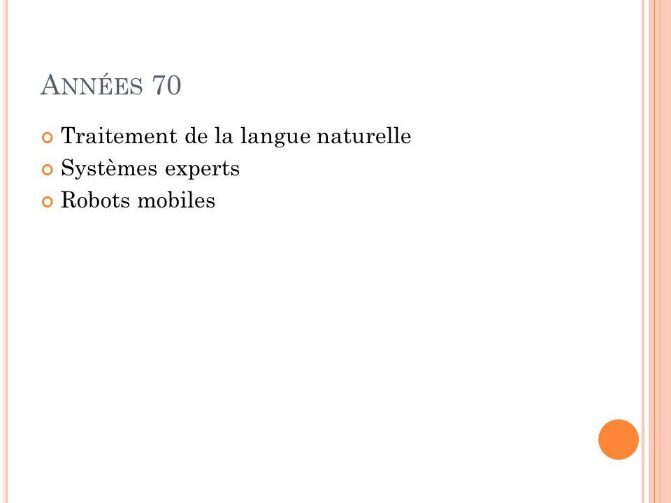 Années 70 Traitement de la langue naturelle Systèmes experts