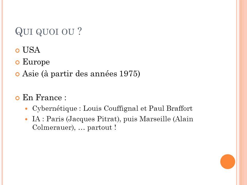 Qui quoi ou USA Europe Asie (à partir des années 1975) En France :