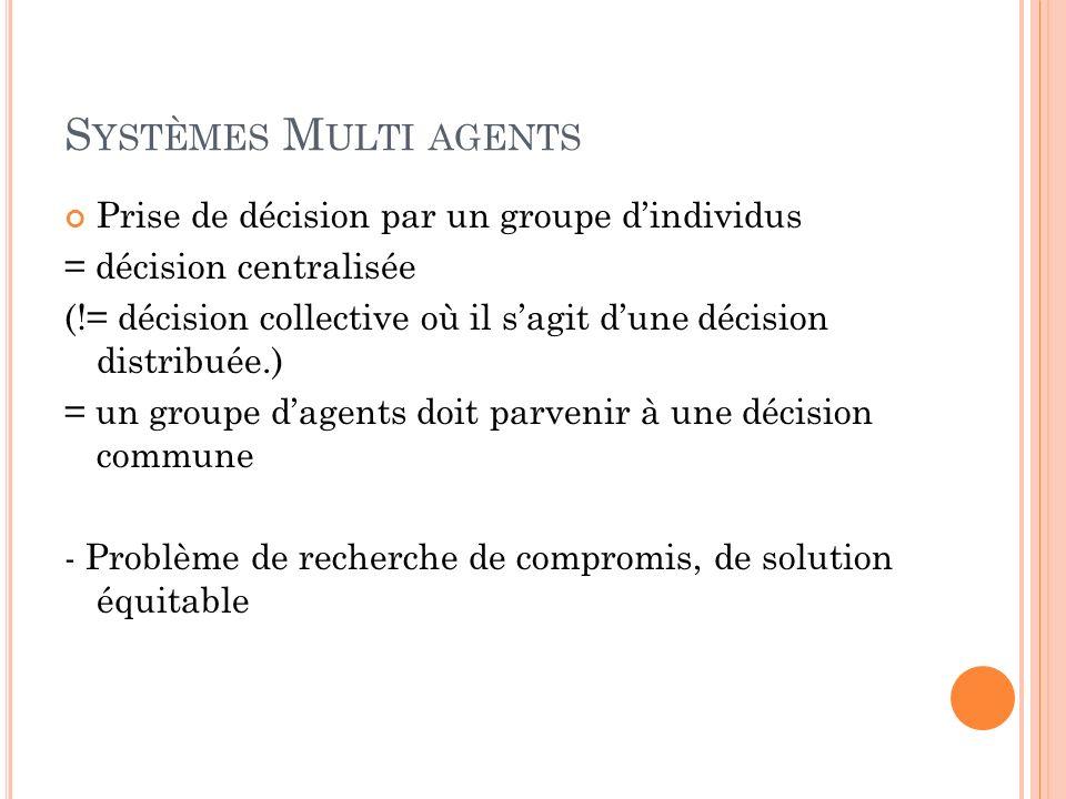 Systèmes Multi agents Prise de décision par un groupe d'individus