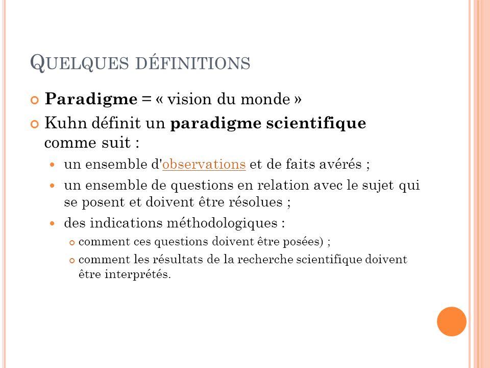 Quelques définitions Paradigme = « vision du monde »