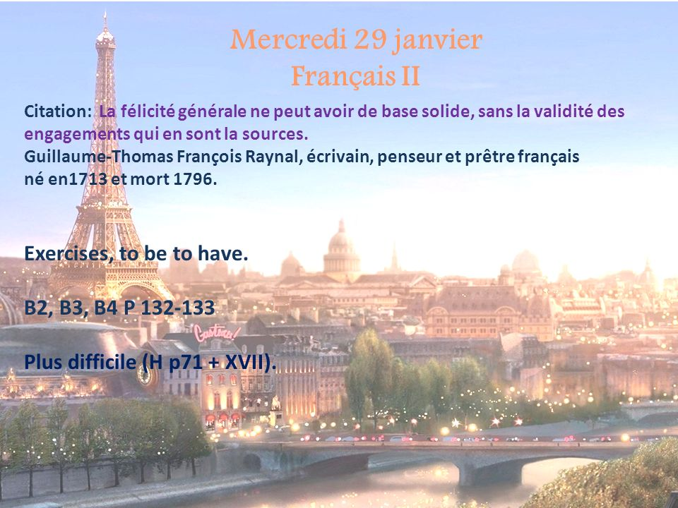 Mercredi 29 janvier Français II