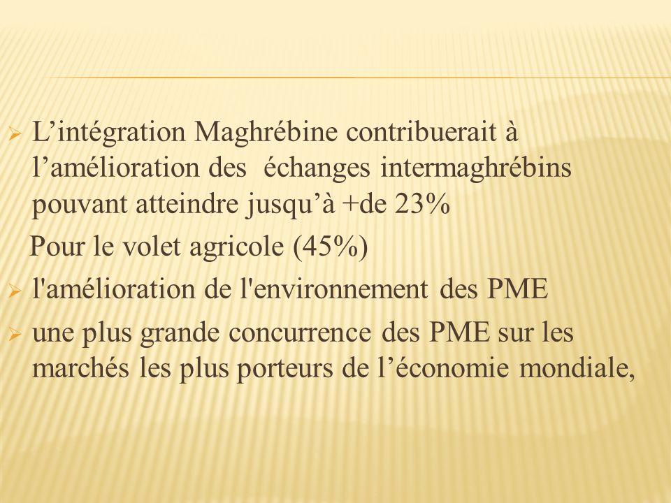 L'intégration Maghrébine contribuerait à l'amélioration des échanges intermaghrébins pouvant atteindre jusqu'à +de 23%