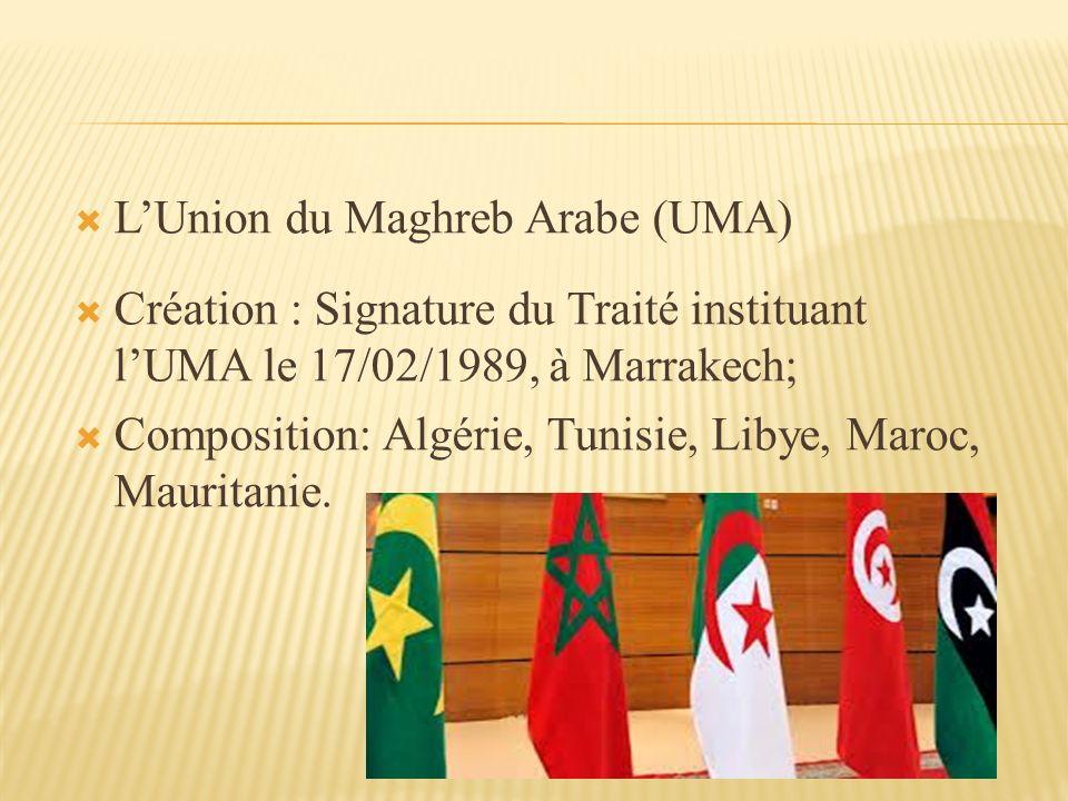 L'Union du Maghreb Arabe (UMA)