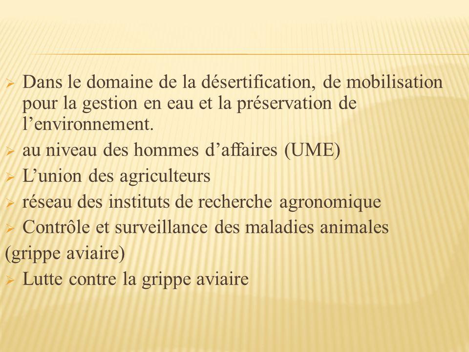 Dans le domaine de la désertification, de mobilisation pour la gestion en eau et la préservation de l'environnement.