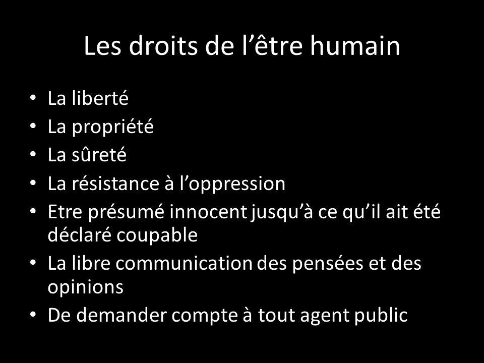 Les droits de l'être humain