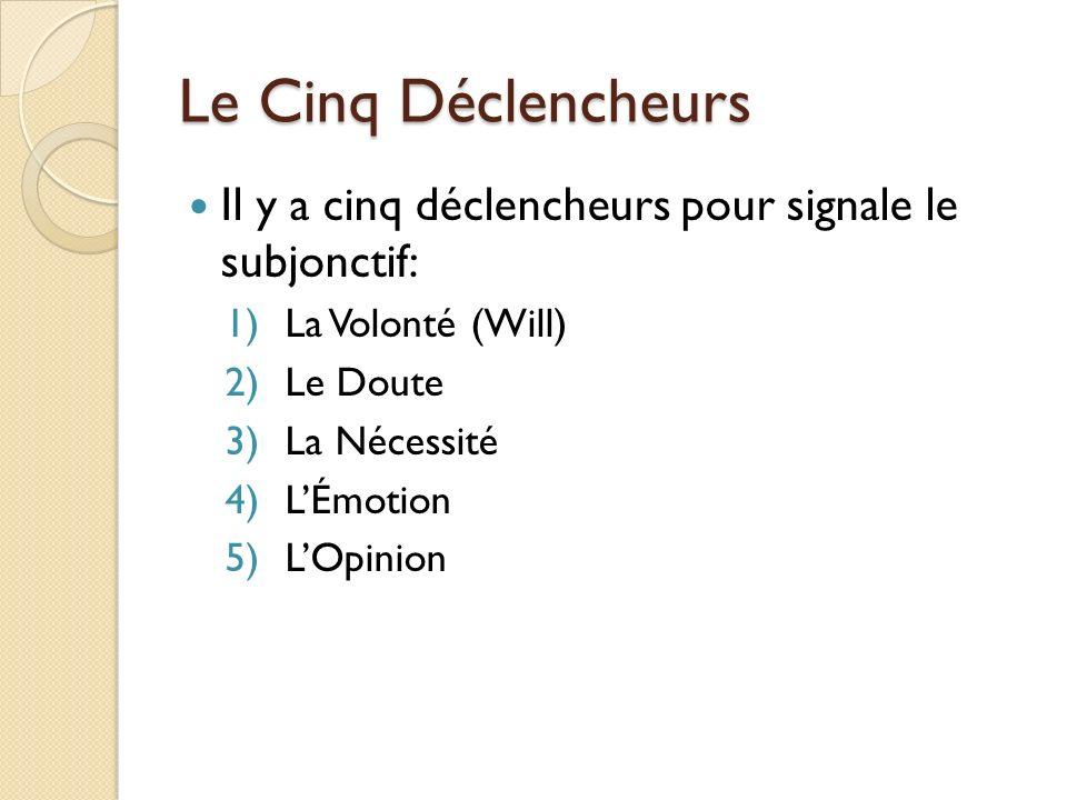 Le Cinq Déclencheurs Il y a cinq déclencheurs pour signale le subjonctif: La Volonté (Will) Le Doute.