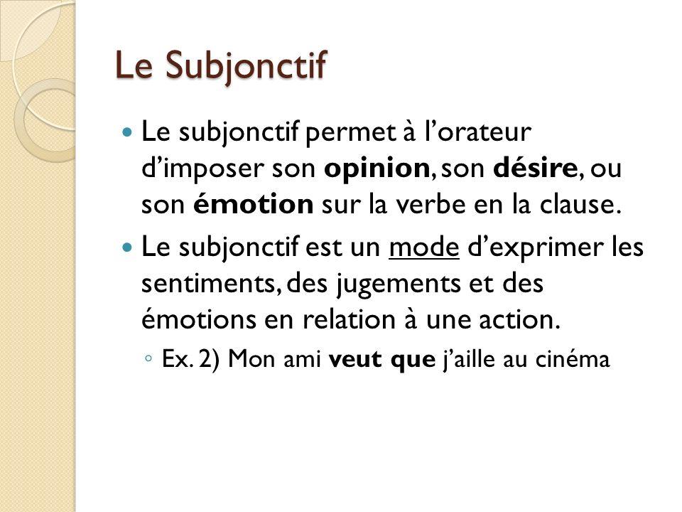 Le Subjonctif Le subjonctif permet à l'orateur d'imposer son opinion, son désire, ou son émotion sur la verbe en la clause.