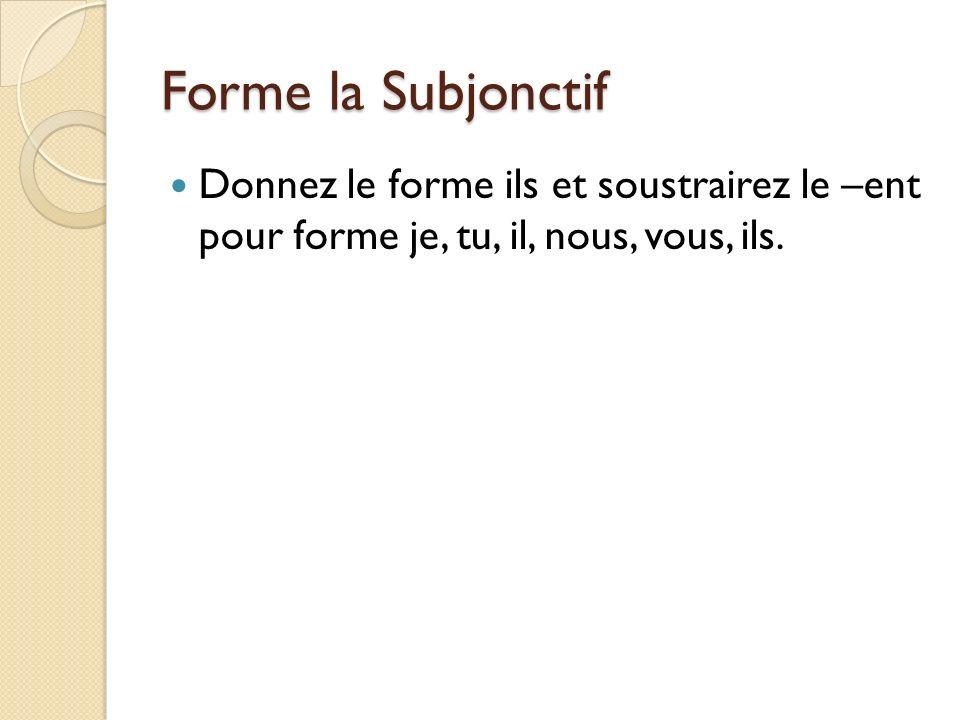 Forme la Subjonctif Donnez le forme ils et soustrairez le –ent pour forme je, tu, il, nous, vous, ils.