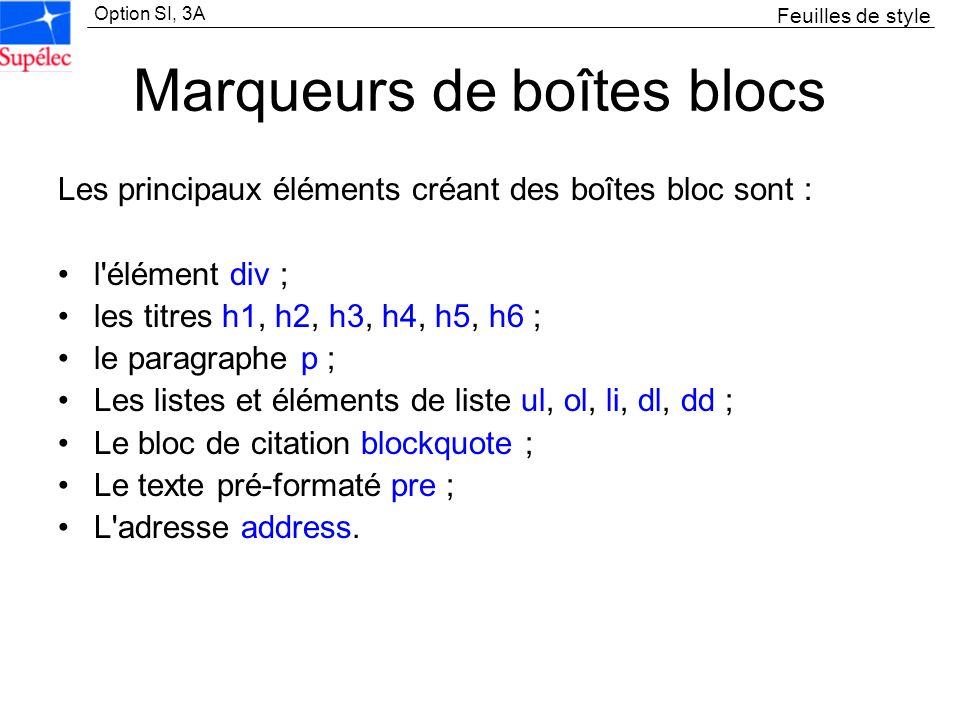 Marqueurs de boîtes blocs