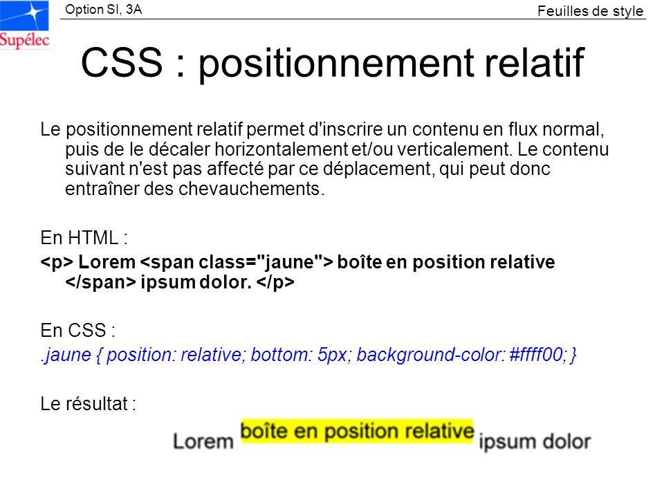 CSS : positionnement relatif