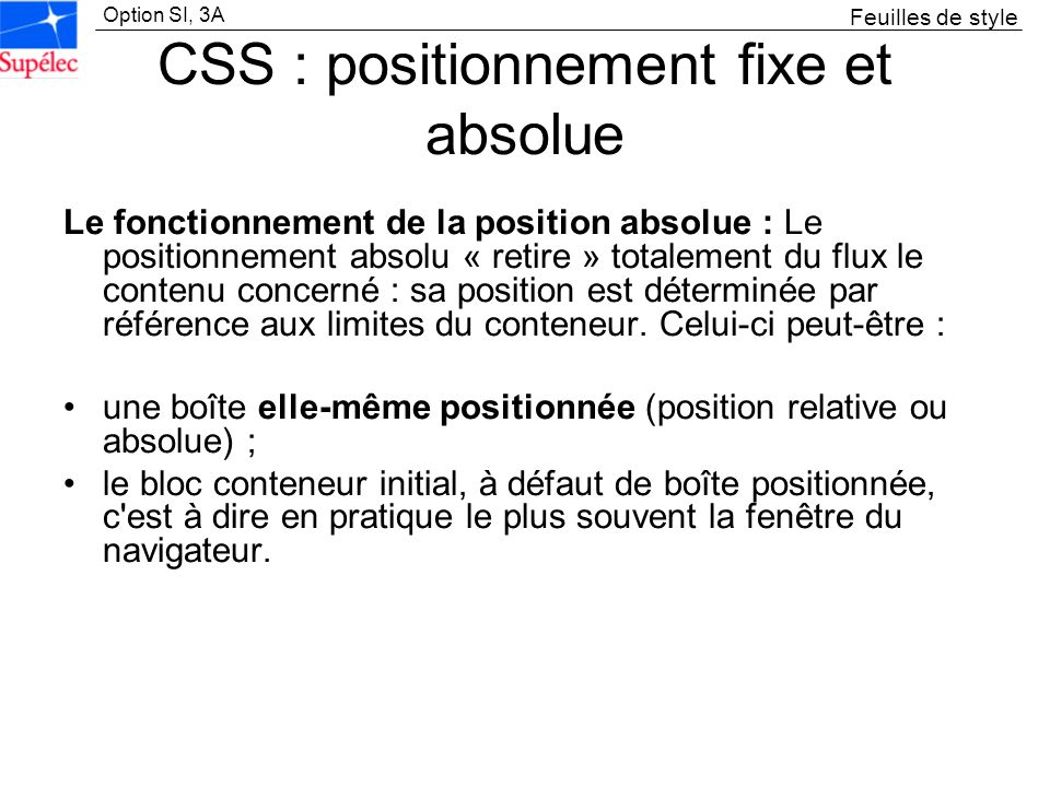 CSS : positionnement fixe et absolue