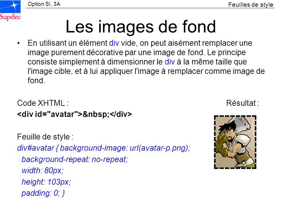 Feuilles de styleLes images de fond.