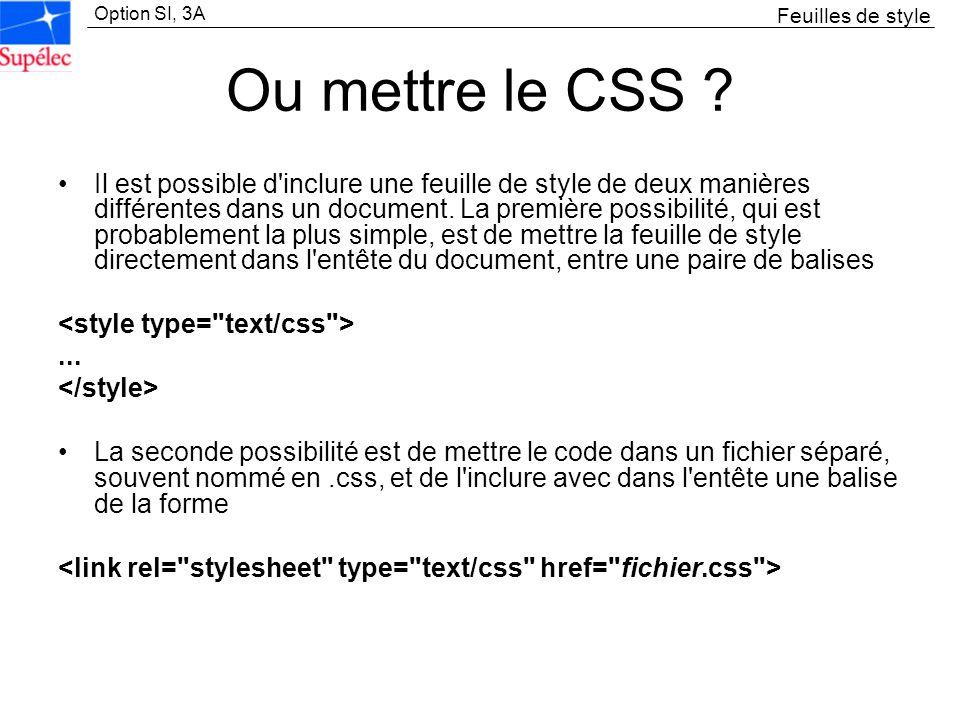 Feuilles de style Ou mettre le CSS