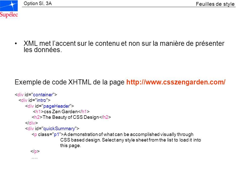 Exemple de code XHTML de la page http://www.csszengarden.com/