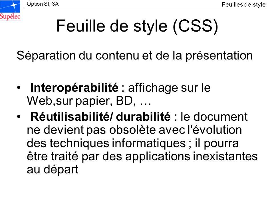 Feuille de style (CSS) Séparation du contenu et de la présentation