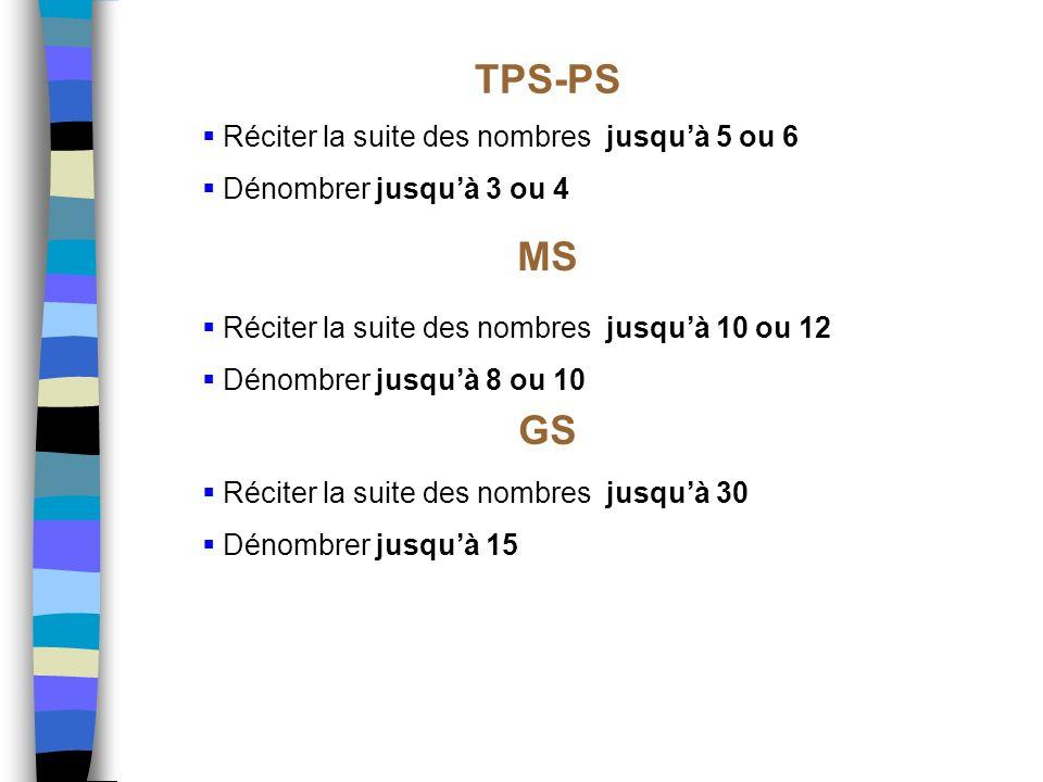 TPS-PS MS GS Réciter la suite des nombres jusqu'à 5 ou 6