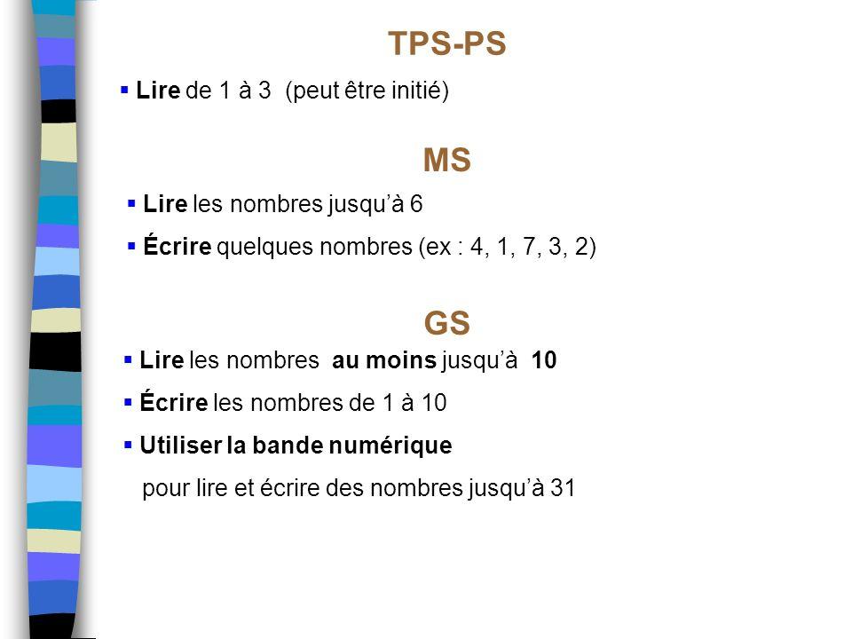TPS-PS MS GS Lire de 1 à 3 (peut être initié)