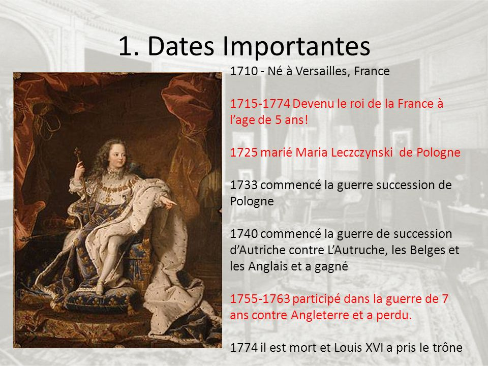 1. Dates Importantes Né à Versailles, France