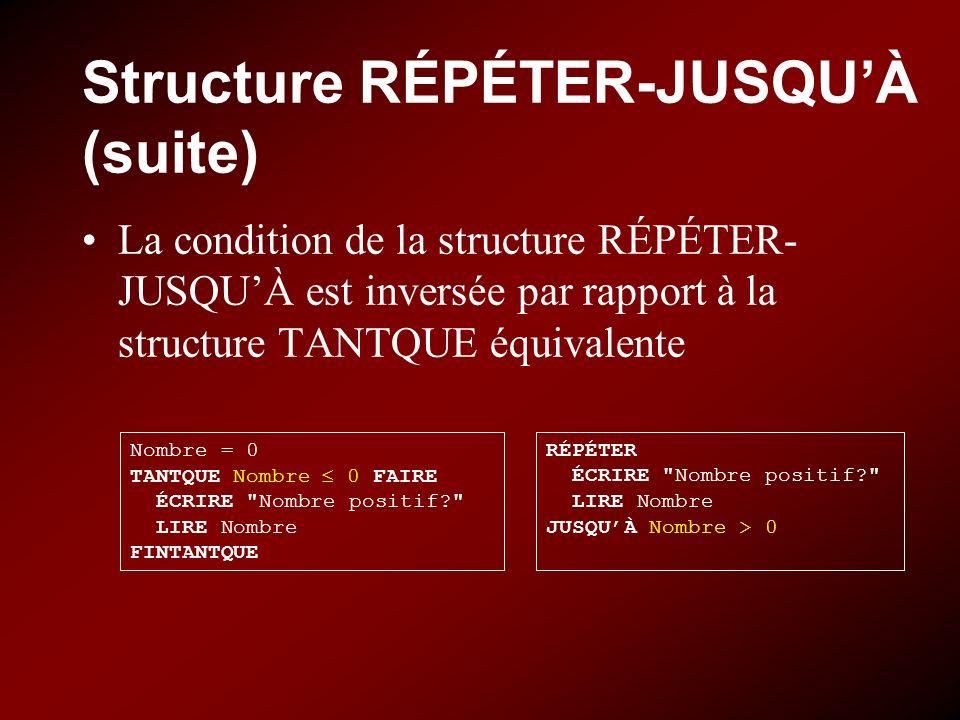 Structure RÉPÉTER-JUSQU'À (suite)