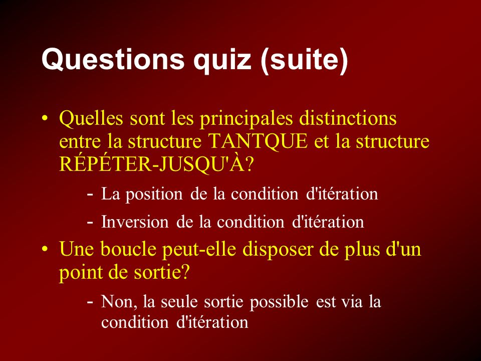 Questions quiz (suite)