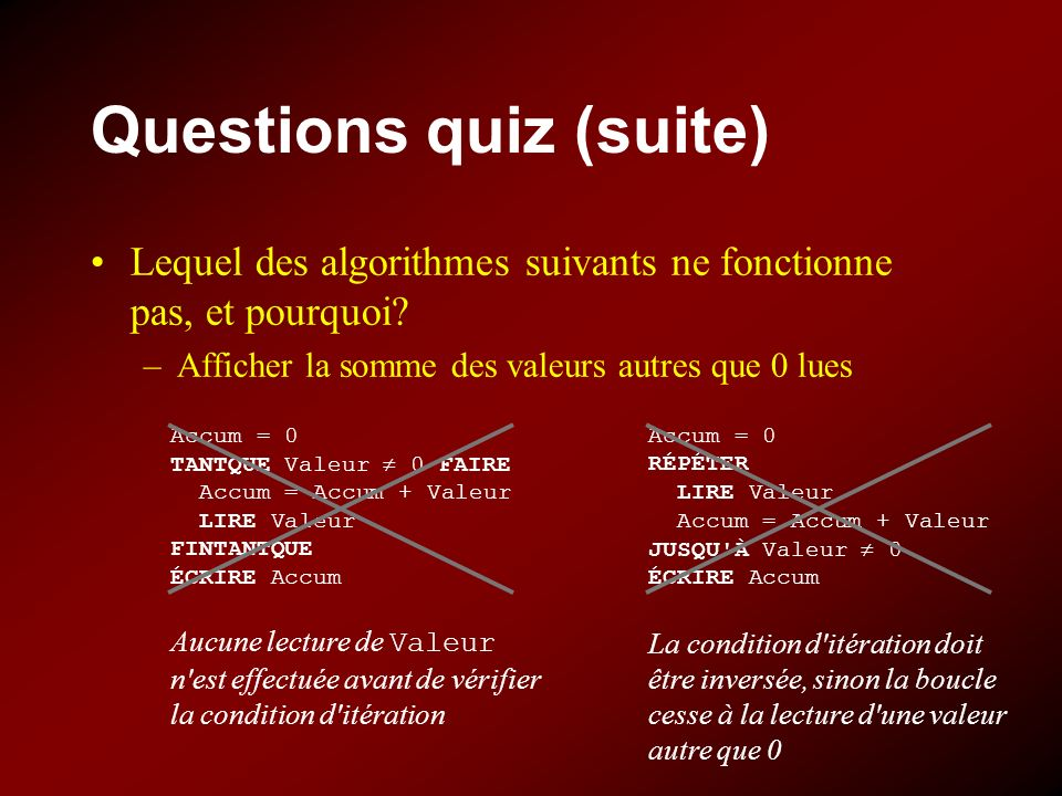 Questions quiz (suite)