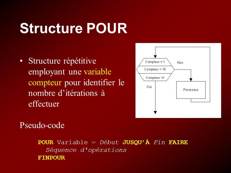 Structure POUR Structure répétitive employant une variable compteur pour identifier le nombre d'itérations à effectuer.