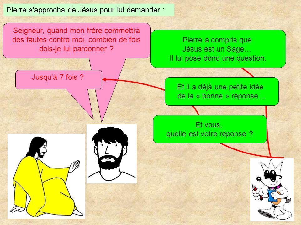 Pierre s'approcha de Jésus pour lui demander :