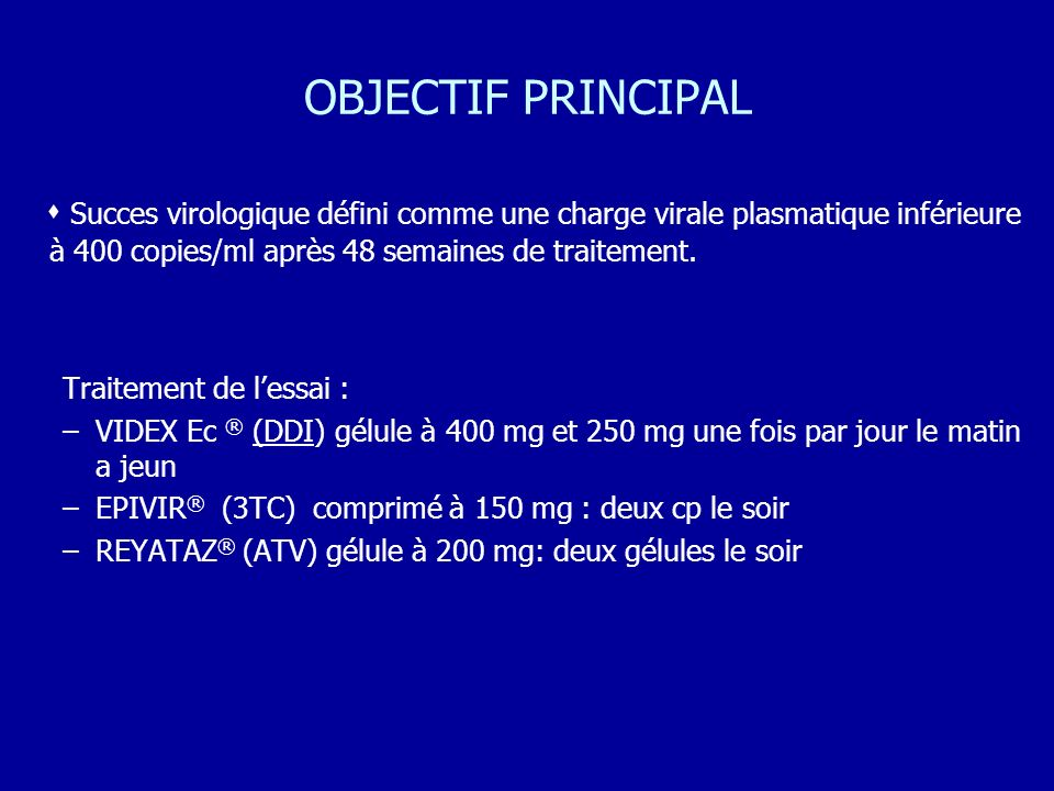 OBJECTIF PRINCIPAL  Succes virologique défini comme une charge virale plasmatique inférieure à 400 copies/ml après 48 semaines de traitement.