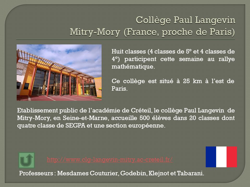 Collège Paul Langevin Mitry-Mory (France, proche de Paris)