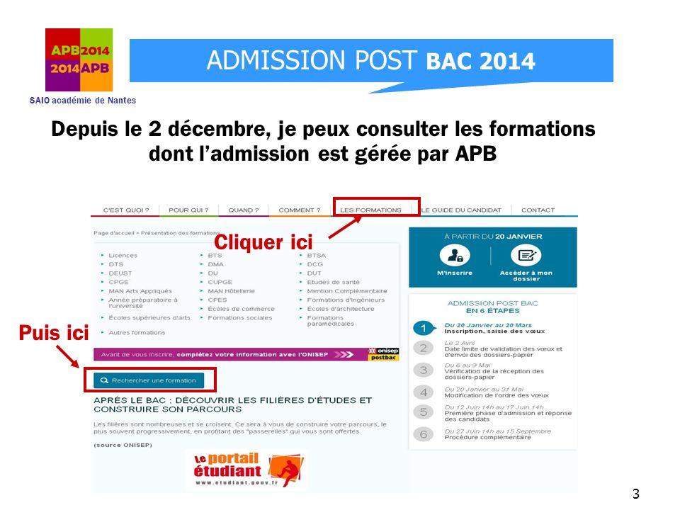 Depuis le 2 décembre, je peux consulter les formations dont l'admission est gérée par APB