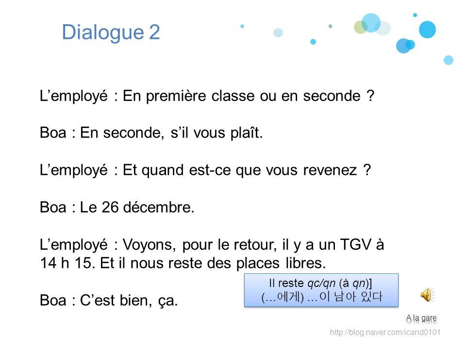 Dialogue 2 L'employé : En première classe ou en seconde
