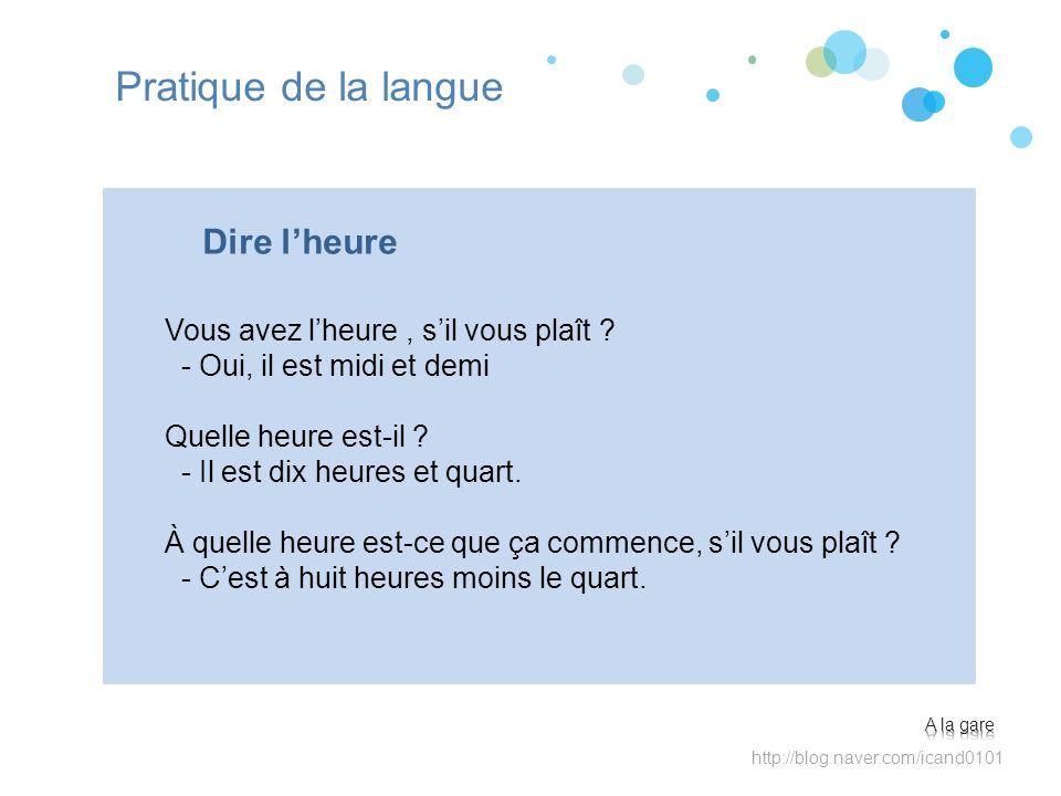 Pratique de la langue Dire l'heure