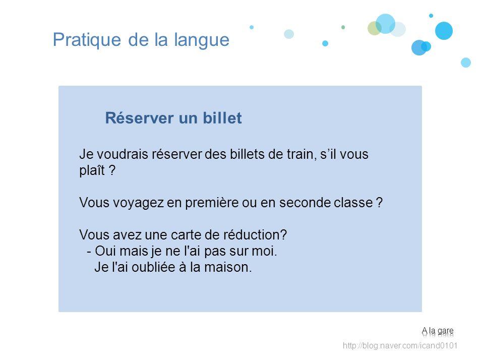 Pratique de la langue Réserver un billet