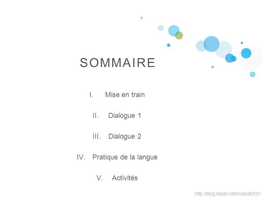 SOMMAIRE Mise en train Dialogue 1 Dialogue 2 Pratique de la langue