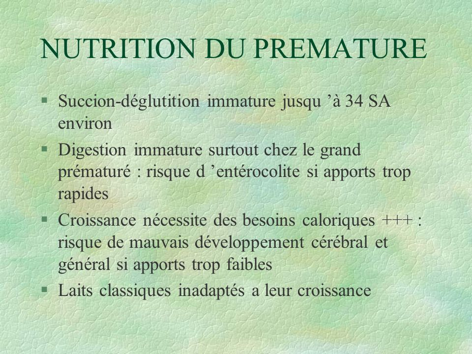 NUTRITION DU PREMATURE