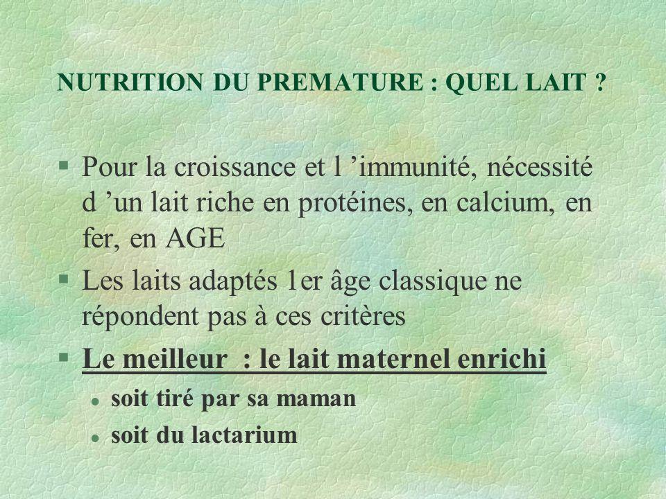 NUTRITION DU PREMATURE : QUEL LAIT
