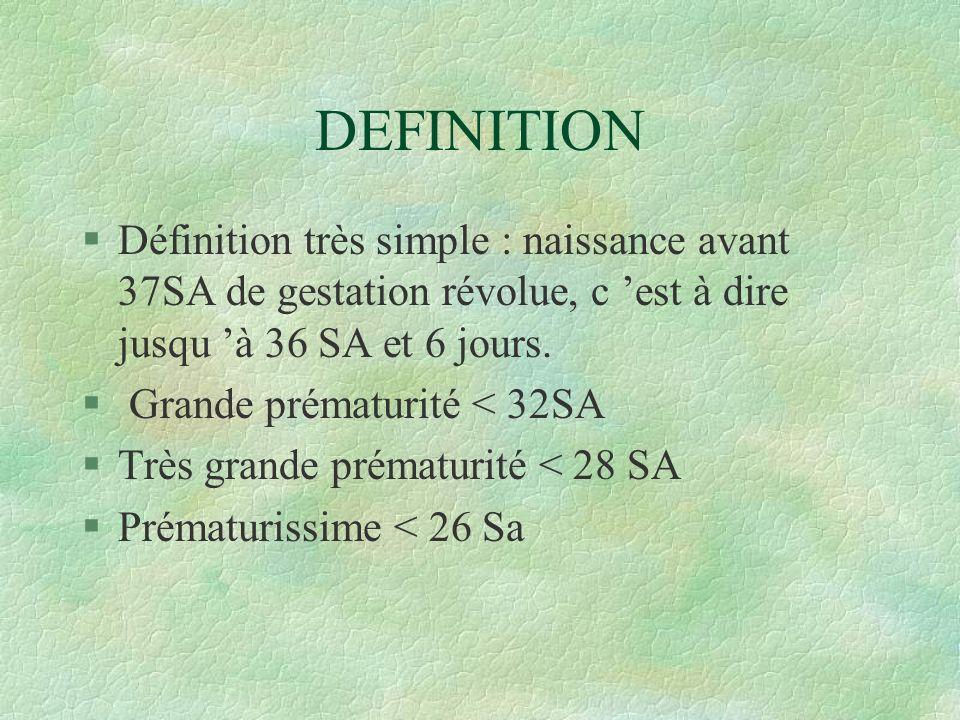 DEFINITION Définition très simple : naissance avant 37SA de gestation révolue, c 'est à dire jusqu 'à 36 SA et 6 jours.