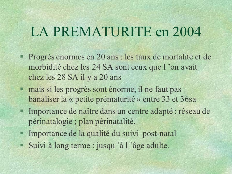 LA PREMATURITE en 2004
