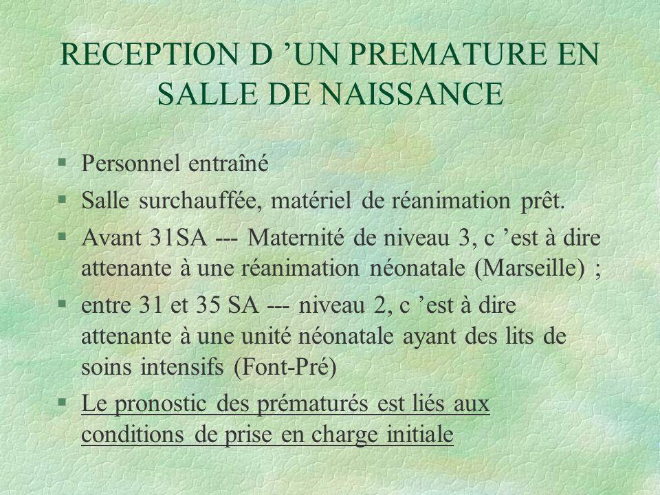 RECEPTION D 'UN PREMATURE EN SALLE DE NAISSANCE